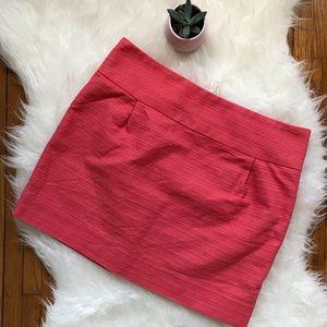 J. Crew Textured Cotton Coral Pink Mini Skirt SZ 8